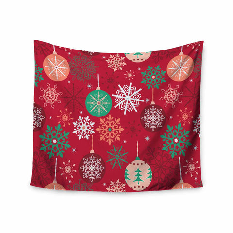 "julia grifol ""Christmas Balls"" Red Green Pattern Holiday Vector Wall Tapestry"