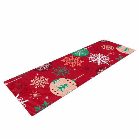 "julia grifol ""Christmas Balls"" Red Green Pattern Holiday Vector Yoga Mat"