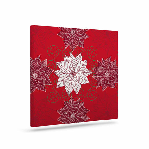 "julia grifol ""Christmas Time"" Red White Pattern Floral Vector Digital Art Canvas"