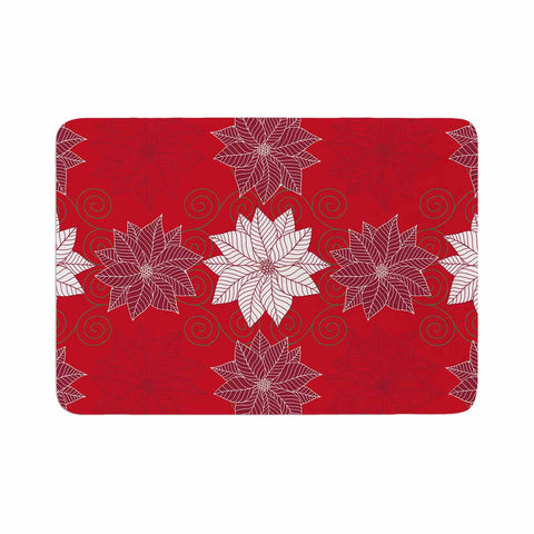 "julia grifol ""Christmas Time"" Red White Pattern Floral Vector Digital Memory Foam Bath Mat"
