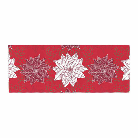 "julia grifol ""Christmas Time"" Red White Pattern Floral Vector Digital Bed Runner"