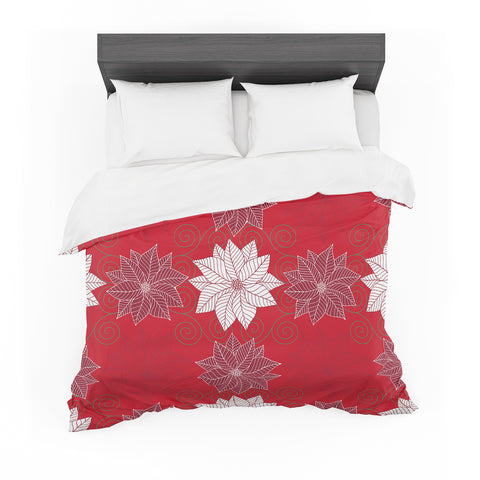 "julia grifol ""Christmas Time"" Red White Pattern Floral Vector Digital Featherweight Duvet Cover"