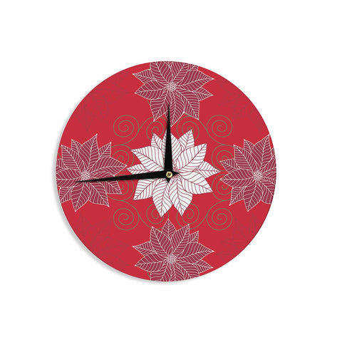 "julia grifol ""Christmas Time"" Red White Pattern Floral Vector Digital Wall Clock"