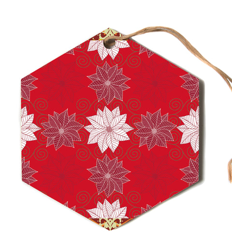"julia grifol ""Christmas Time"" Red White Pattern Floral Vector Digital Hexagon Holiday Ornament"