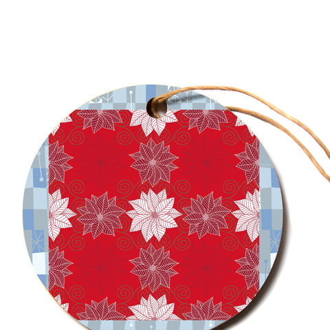 "julia grifol ""Christmas Time"" Red White Pattern Floral Vector Digital Circle Holiday Ornament"