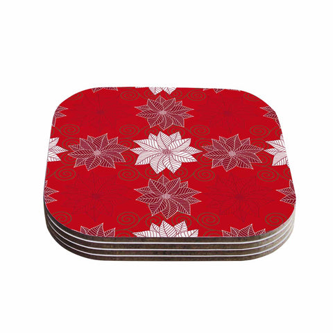 "julia grifol ""Christmas Time"" Red White Pattern Floral Vector Digital Coasters (Set of 4)"