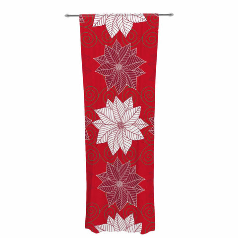 "julia grifol ""Christmas Time"" Red White Pattern Floral Vector Digital Decorative Sheer Curtain"