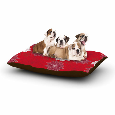 "julia grifol ""Christmas Time"" Red White Pattern Floral Vector Digital Dog Bed"