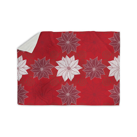 "julia grifol ""Christmas Time"" Red White Pattern Floral Vector Digital Sherpa Blanket"