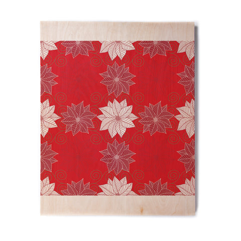 "julia grifol ""Christmas Time"" Red White Pattern Floral Vector Digital Birchwood Wall Art"