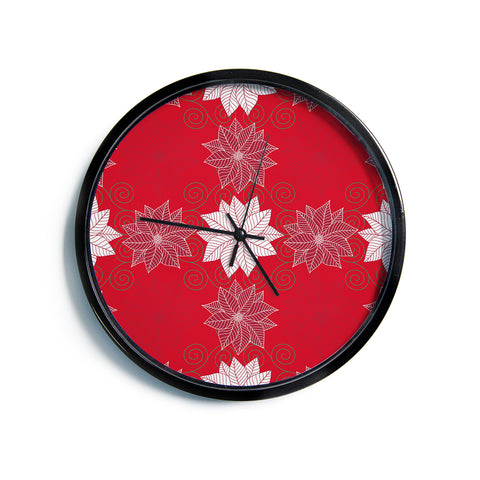 "julia grifol ""Christmas Time"" Red White Pattern Floral Vector Digital Modern Wall Clock"