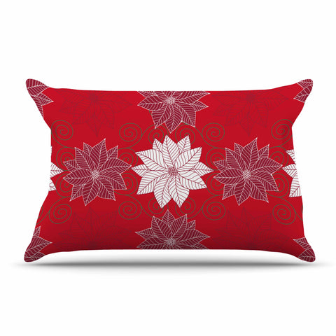 "julia grifol ""Christmas Time"" Red White Pattern Floral Vector Digital Pillow Sham"