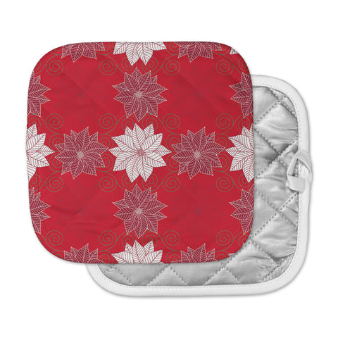 "julia grifol ""Christmas Time"" Red White Pattern Floral Vector Digital Pot Holder"