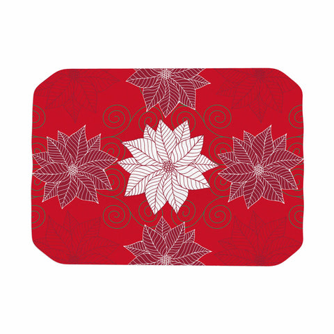 "julia grifol ""Christmas Time"" Red White Pattern Floral Vector Digital Place Mat"