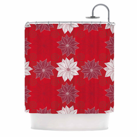 "julia grifol ""Christmas Time"" Red White Pattern Floral Vector Digital Shower Curtain"