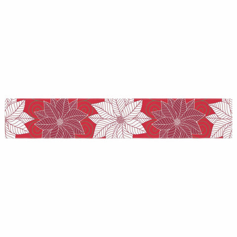 "julia grifol ""Christmas Time"" Red White Pattern Floral Vector Digital Table Runner"