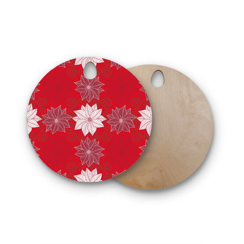 "julia grifol ""Christmas Time"" Red White Pattern Floral Vector Digital Round Wooden Cutting Board"
