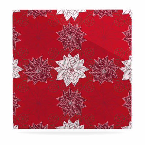 "julia grifol ""Christmas Time"" Red White Pattern Floral Vector Digital Luxe Square Panel"