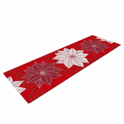 "julia grifol ""Christmas Time"" Red White Pattern Floral Vector Digital Yoga Mat"