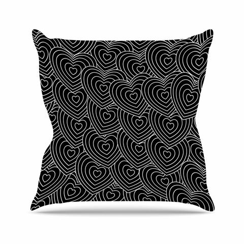 "julia grifol ""Crazy Love"" Black White Geometric Pattern Vector Digital Outdoor Throw Pillow"