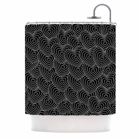 "julia grifol ""Crazy Love"" Black White Geometric Pattern Vector Digital Shower Curtain"