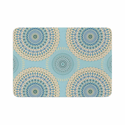 "Julia Grifol ""Sweet Time"" Blue Pastel Geometric Pattern Vector Digital Memory Foam Bath Mat"