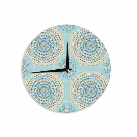 "Julia Grifol ""Sweet Time"" Blue Pastel Geometric Pattern Vector Digital Wall Clock"