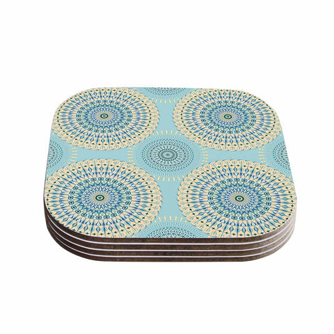 "Julia Grifol ""Sweet Time"" Blue Pastel Geometric Pattern Vector Digital Coasters (Set of 4)"