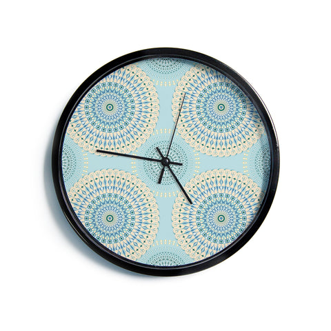 "Julia Grifol ""Sweet Time"" Blue Pastel Geometric Pattern Vector Digital Modern Wall Clock"