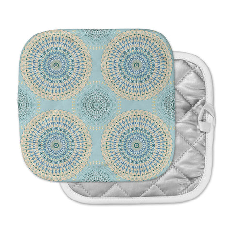 "Julia Grifol ""Sweet Time"" Blue Pastel Geometric Pattern Vector Digital Pot Holder"