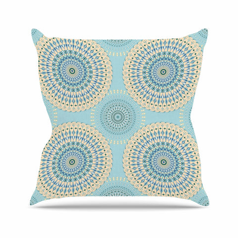 "Julia Grifol ""Sweet Time"" Blue Pastel Geometric Pattern Vector Digital Outdoor Throw Pillow"