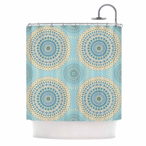 "Julia Grifol ""Sweet Time"" Blue Pastel Geometric Pattern Vector Digital Shower Curtain"