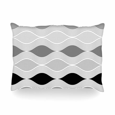"Julia Grifol ""Waves In Gray"" White Gray Geometric Pattern Digital Vector Oblong Pillow"