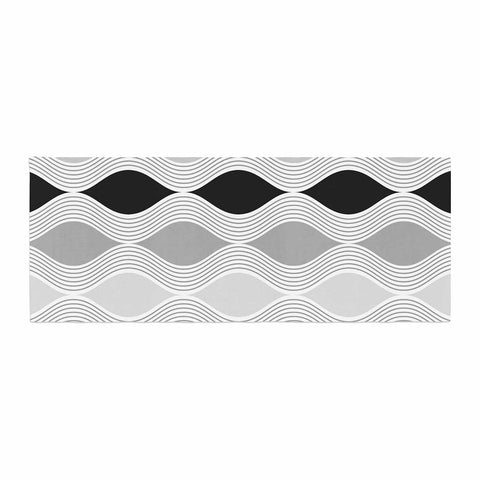 "Julia Grifol ""Waves In Gray"" White Gray Geometric Pattern Digital Vector Bed Runner"
