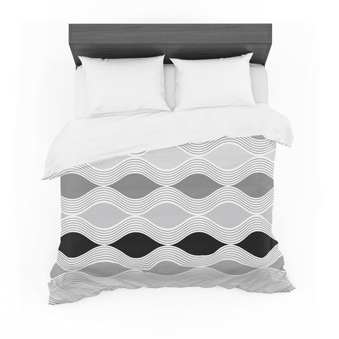 "Julia Grifol ""Waves In Gray"" White Gray Geometric Pattern Digital Vector Featherweight Duvet Cover"