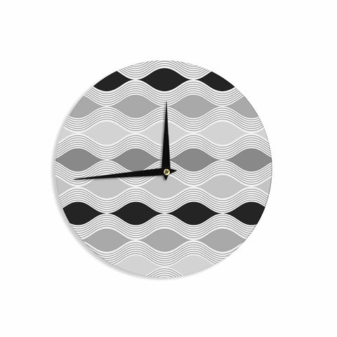 "Julia Grifol ""Waves In Gray"" White Gray Geometric Pattern Digital Vector Wall Clock"