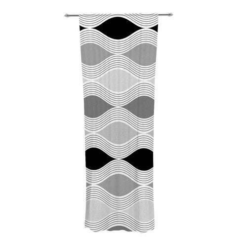 "Julia Grifol ""Waves In Gray"" White Gray Geometric Pattern Digital Vector Decorative Sheer Curtain"