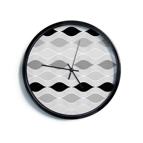 "Julia Grifol ""Waves In Gray"" White Gray Geometric Pattern Digital Vector Modern Wall Clock"
