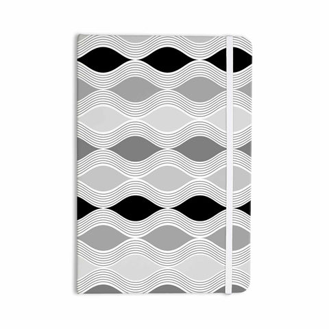"Julia Grifol ""Waves In Gray"" White Gray Geometric Pattern Digital Vector Everything Notebook"