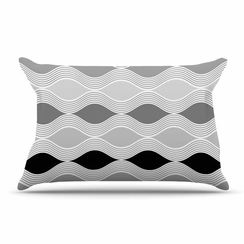 "Julia Grifol ""Waves In Gray"" White Gray Geometric Pattern Digital Vector Pillow Sham"