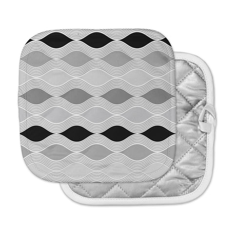 "Julia Grifol ""Waves In Gray"" White Gray Geometric Pattern Digital Vector Pot Holder"