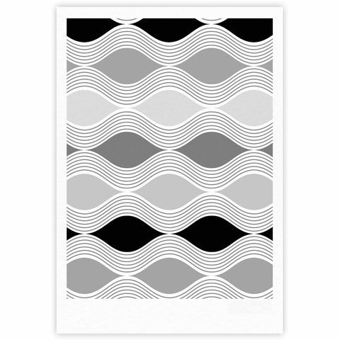 "Julia Grifol ""Waves In Gray"" White Gray Geometric Pattern Digital Vector Fine Art Gallery Print"