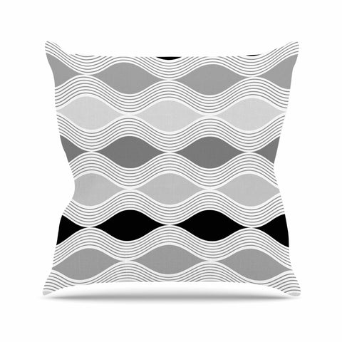 "Julia Grifol ""Waves In Gray"" White Gray Geometric Pattern Digital Vector Outdoor Throw Pillow"