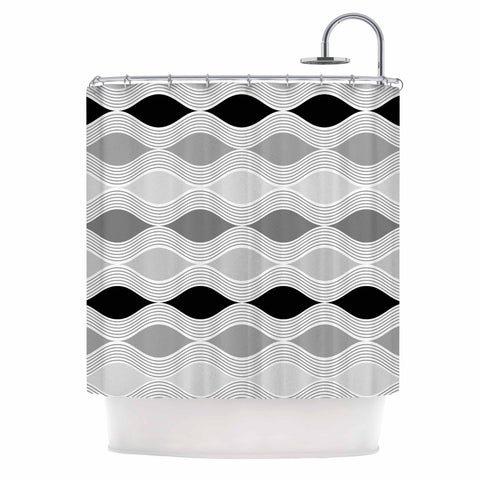 "Julia Grifol ""Waves In Gray"" White Gray Geometric Pattern Digital Vector Shower Curtain"