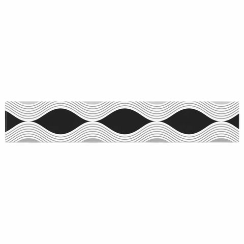 "Julia Grifol ""Waves In Gray"" White Gray Geometric Pattern Digital Vector Table Runner"