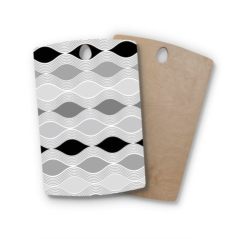 "Julia Grifol ""Waves In Gray"" White Gray Geometric Pattern Digital Vector Rectangle Wooden Cutting Board"
