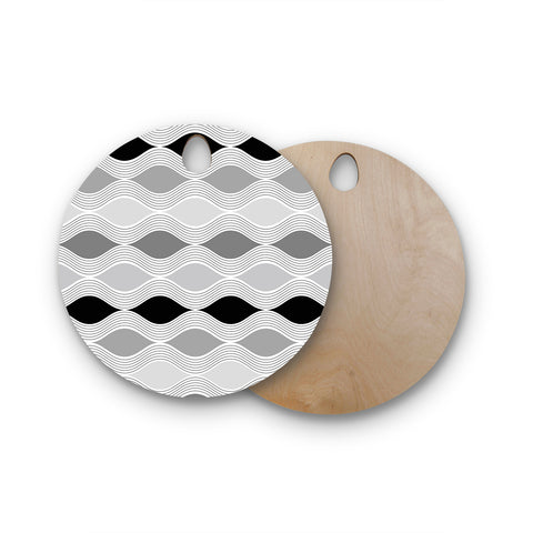 "Julia Grifol ""Waves In Gray"" White Gray Geometric Pattern Digital Vector Round Wooden Cutting Board"