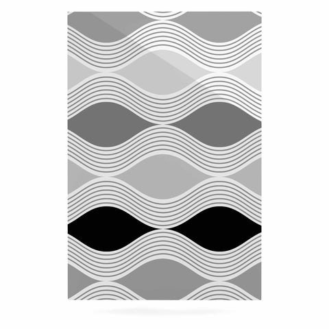 "Julia Grifol ""Waves In Gray"" White Gray Geometric Pattern Digital Vector Luxe Rectangle Panel"