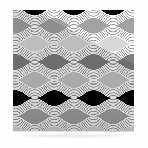 "Julia Grifol ""Waves In Gray"" White Gray Geometric Pattern Digital Vector Luxe Square Panel"