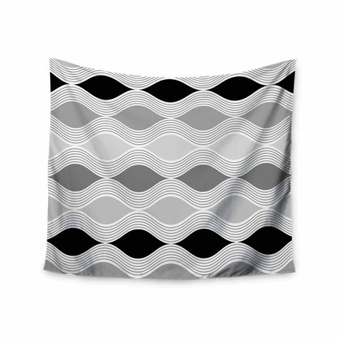 "Julia Grifol ""Waves In Gray"" White Gray Geometric Pattern Digital Vector Wall Tapestry"